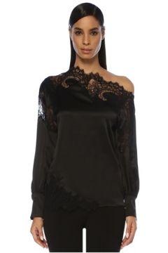 Ermanno Scervino Kadın Siyah Dantel Garnili İpek Saten Bluz 42 IT(114439097)