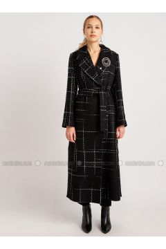 Black - White - Multi - Shawl Collar - Acrylic - Coat - NG Style(110341257)