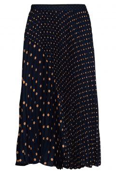 Polka Dot Pleated Midi Skirt Knielanges Kleid Blau BANANA REPUBLIC(114164344)