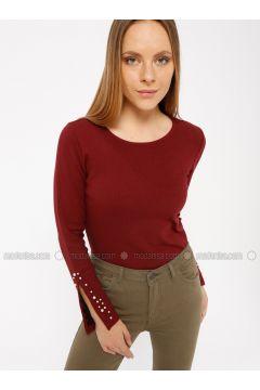 Maroon - T-Shirt - Koton(110323983)