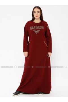 Maroon - Unlined - Crew neck - Plus Size Dress - Ginezza(110336805)