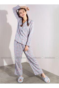 Gray - Plaid - Viscose - Pyjama - Akel(110331067)