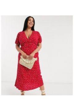 Oasis Curve - Vestito midi rosso con taglio in sbieco-Multicolore(120300785)