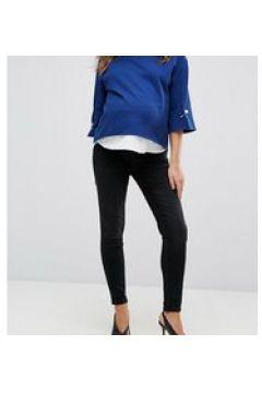 GeBe Maternity - Jeans skinny premium neri con fascia sopra il pancione-Nero(123920385)
