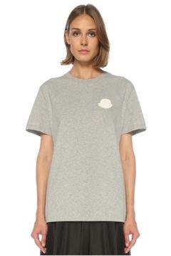 Moncler Kadın Gri Logo Patchli T-shirt S EU(122296621)