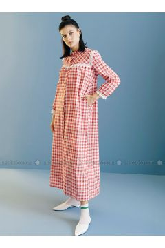 Red - Plaid - Button Collar - Unlined - Dresses - Kuaybe Gider(110340756)