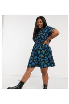 New Look Curve - Vestito corto raccolto in vita con stampa a fiori blu-Nero(123404805)