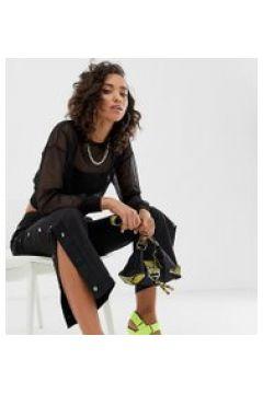 Na-kd - Schwarze Hose mit weitem Bein und Druckknopfdetails - Schwarz(86692455)