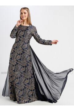 Navy Blue - Multi - Fully Lined - Sweatheart Neckline - Muslim Evening Dress - Le Mirage(110337562)