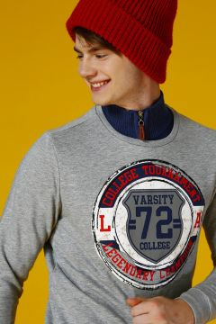 T-Box Erkek Bisiklet Yaka Gri melanj Sweatshirt(113965629)