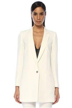 Academia Kadın Beyaz Kelebek Yaka Tek Düğmeli Uzun Krep Ceket 42(109109678)