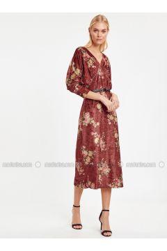 Maroon - Printed - Dresses - LC WAIKIKI(110333688)