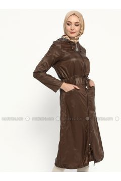 Brown - Unlined - Topcoat - Ginezza(110315292)