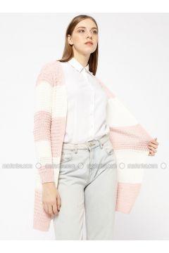 Pink - Stripe - Acrylic -- Cardigan - Meliana(110331014)