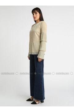 Golden tone - Crew neck - Blouses - DRESSLOVE(110339015)