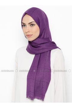 Purple - Plaid - Shawl - Özsoy(110337843)