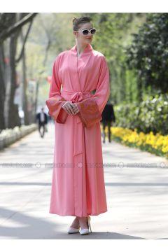 Pink - Multi - Unlined - V neck Collar - Abaya - Nossabaya(110315341)