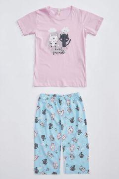 DeFacto Kız Çocuk Kedi Baskılı Şortlu Pijama Takımı(125930048)