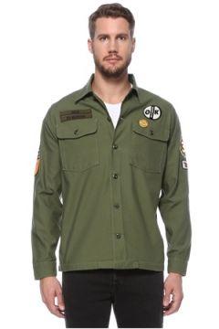 Deus Ex Machina Erkek Haki Polo Yaka Patch Detaylı Gömlek Yeşil S EU(124682443)