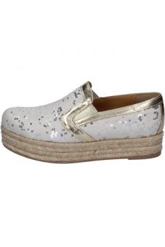 Espadrilles Olga Rubini mocassins blanc platine textile paillettes BS111(115443080)