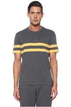 Brunello Cucinelli Erkek Gri Sarı Şerit Detaylı T-shirt 46 IT(119423227)