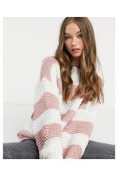 In The Style x Billie Faiers - Maglione oversize lavorato con righe a contrasto rosa(122966102)