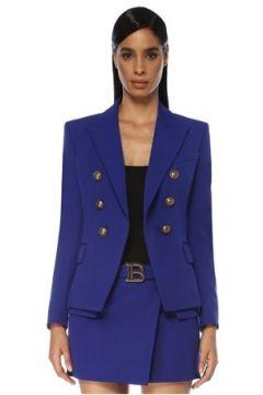 Balmain Kadın Mavi Kırlangıç Yaka Kruvaze Yün Ceket 36 FR(119785484)