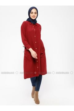 Maroon - Point Collar - Tunic - SELLY(110330489)