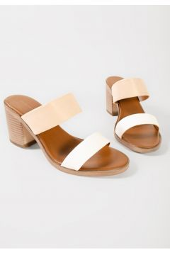 Shoes & More Kadın Bej Hakiki Deri Topuklu Terlik(124639220)