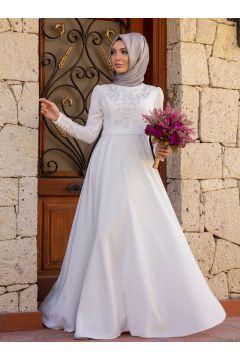 Robe De Soirée Modeste Nurkombin Blanc(127844498)