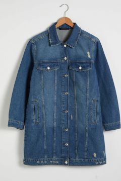 Kadın Cepli Uzun Jean Ceket(127518604)