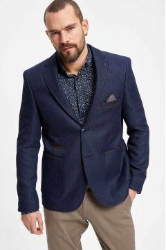 DeFacto Erkek Mendil Detaylı Dirsek Yamalı Modern Fit Blazer Ceket(108987180)