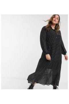 New Look Curve - Vestito camicia a balze nero a pois(120325888)