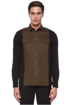 Neil Barrett Erkek Kahverengi Siyah İngiliz Yaka Gömlek L EU(118214571)