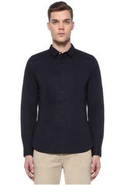PS by Paul Smith Erkek Slim Fit Lacivert Polo Yaka Nakışlı Gömlek M EU(108933844)