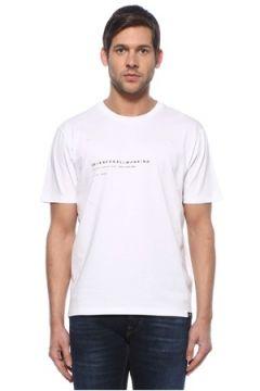 7 For All Mankind Erkek Beyaz Bisiklet Yaka Baskılı T-shirt S EU(126735515)