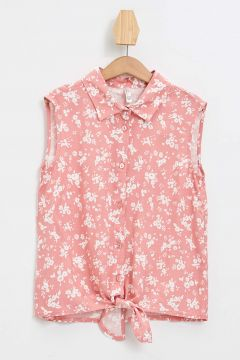 DeFacto Kız Çocuk Baskılı Bağlama Detaylı Kolsuz Gömlek(119061633)