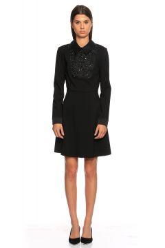 Tara Jarmon-Tara Jarmon İşleme Detaylı Siyah Elbise(118836271)