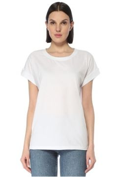 Allsaints Kadın Beyaz Bisiklet Yaka Zincir Şeritli T-shirt M/L EU(126795844)