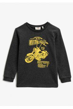 Koton Erkek Çocuk Baskili Bisiklet Yaka Uzun Kollu Tisört(124369669)