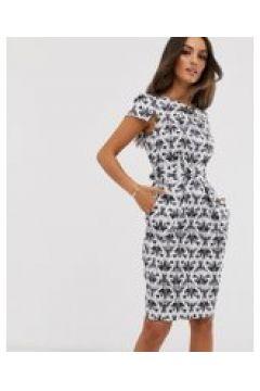 Closet London - Wiggle-Kleid mit Flügelärmeln und Juwelen-Print in Schwarz und Weiß - Schwarz(95023966)