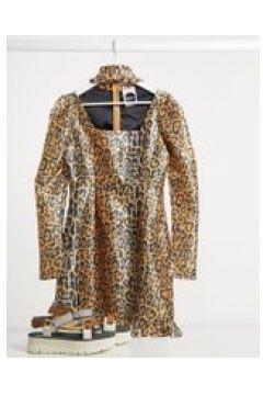 Milk It - Vestito vintage leopardato con maniche a sbuffo e cut-out-Marrone(120330115)