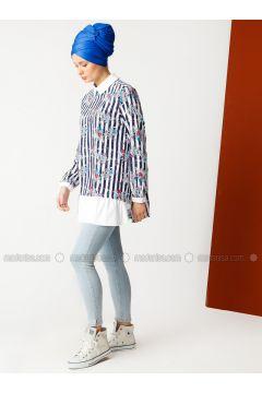 Navy Blue - Stripe - Point Collar - Cotton - Tunic - Meryem Acar(110331930)