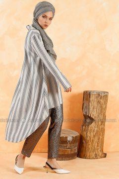 Polo neck - Stripe - Ecru - Sweat-shirt - Muni Muni(110330530)