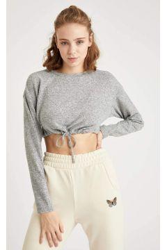 DeFacto Kadın Düşük Omuz Crop Sweatshirt(125935064)