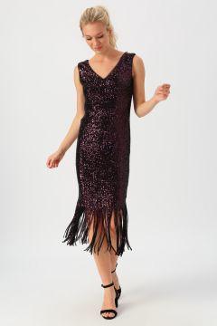 Selen Püskül Detaylı Payetli Mor Elbise(124550393)