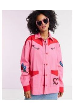 Lazy Oaf - Giacca western oversize con toppe ricamate in coordinato-Rosa(120390494)