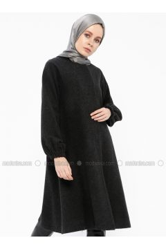 Anthracite - Fully Lined - Crew neck - Coat - Gzd(110339874)