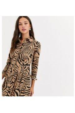 Wednesday\'s Girl - Vestitino camicia con gonna a pieghe e stampa animalier-Beige(120328463)