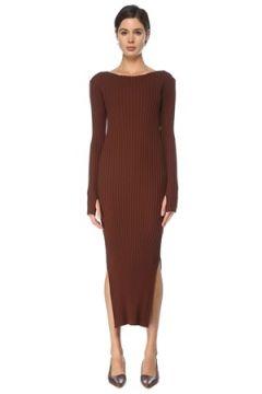 Toteme Kadın Kahverengi Kayık Yaka Ribli Midi Triko Elbise S EU(126268283)